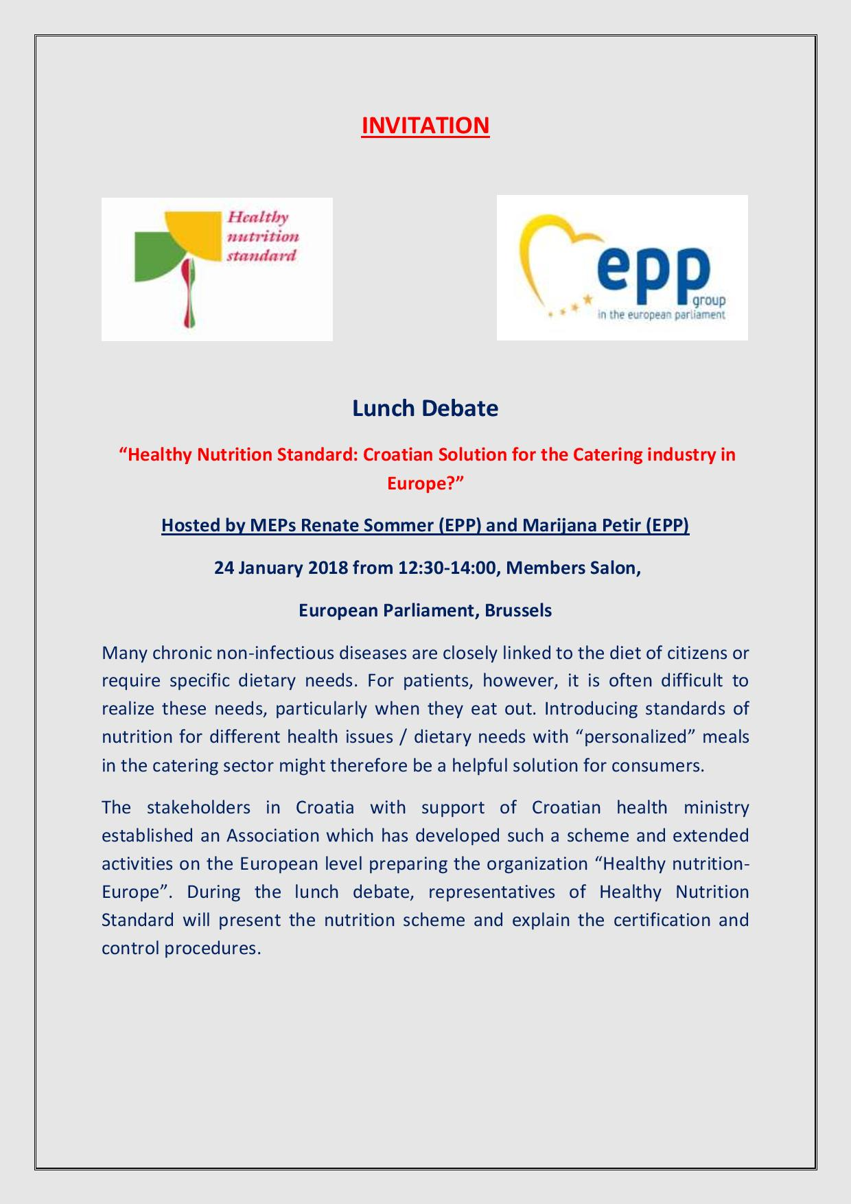 DR.BURA INVITED TO EU PARLIAMENT TO SPEAK ON LUNCH DEBATE : HEALTHY NUTRITION STANDARD: CROATIAN SOLUTION FOR THE CATERING INDUSTRY IN EUROPE?
